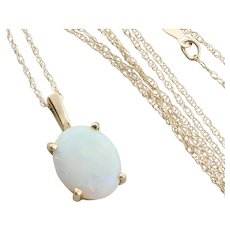 14k Yellow Gold Natural Australian Opal Necklace 18 inch chain