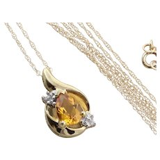 10K Yellow Gold Natural Citrine and Diamond Necklace 18 inch Chain