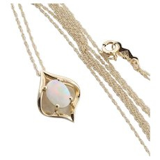 Natural Australian Opal Necklace 18 inch chain 14k Yellow Gold