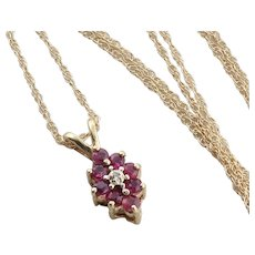 Natural Ruby and Diamond Necklace 18 inch chain 14k Yellow Gold