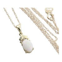 Natural Opal and Diamond Necklace 18 inch chain 10k Yellow Gold