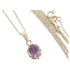 """Natural Amethyst Necklace 18"""" inch Chain 14k Yellow Gold"""