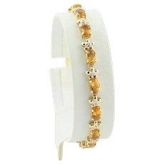 Natural Citrine and Diamond Flower Tennis Bracelet 14k Yellow Gold