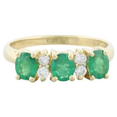 Colombian Emerald and Diamond Band Ring Size 6 3/4 14k Yellow Gold