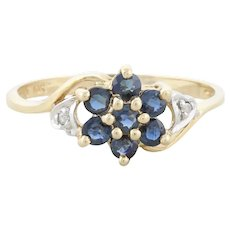 Natural Blue Sapphire and Diamond Flower Ring Size 7 1/4 10k Yellow Gold