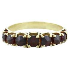 Natural Bohemian Garnet Band Ring Size 8 1/4 14k Yellow Gold