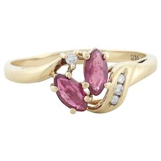 Natural Ruby and Diamond Ring Size 6 3/4 10k Yellow Gold