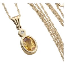 Natural Citrine and Diamond Necklace 18 inch Chain 10K Yellow Gold