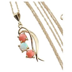 """14k Yellow Gold Natural Angel Skin Coral and Opal Necklace 18"""" inch chain"""