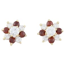 14k Yellow Gold Natural Garnet and Diamond Stud Post Earrings