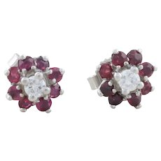 Natural Ruby and Diamond Earrings 14k White Gold Stud Earrings
