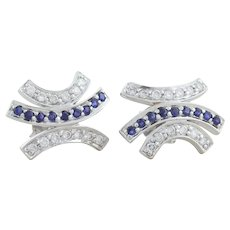 14k White Gold Natural Blue Sapphire and Diamond Stud Post Earrings