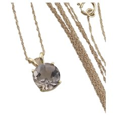 14k Yellow Gold Natural Smoky Quartz Necklace 18 inch chain