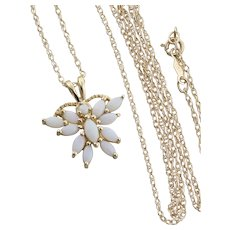Natural Opal Butterfly Necklace 18 inch chain 14k Yellow Gold