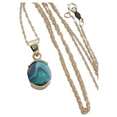 Black Opal and Diamond Necklace 18 inch chain 14k Yellow Gold