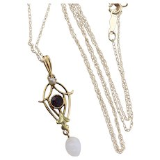 Antique 10k Yellow Gold Purple Paste Glass and Seed Pearl Necklace 18 inch chain