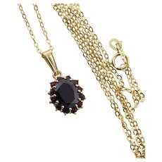 18k Yellow Gold Natural Garnet Necklace  14k Yellow Gold 18 inch chain