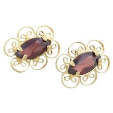 Natural Garnet Filigree Stud Post Earrings 14k Yellow Gold