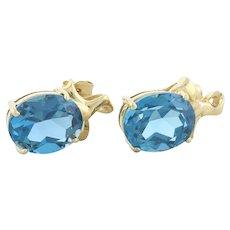 Natural London Blue Topaz Stud Post Earrings 14k Yellow Gold