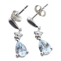 14k White Gold Natural Aquamarine and Diamond Dangle Drop Earrings