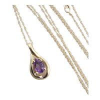 "14k Yellow Gold Natural Purple Amethyst Necklace 18"" Chain"