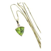 Natural Peridot and Diamond Necklace 17 inch chain 10K Yellow Gold