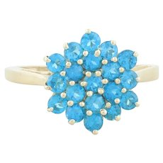 10k Yellow Gold Blue Neon Apatite Cluster Flower Ring Size 6 1/4