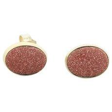 14k Yellow Gold Goldstone Stud Post Earrings