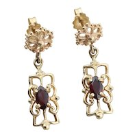 14k Yellow Gold Natural Garnet Dangle Drop Earrings
