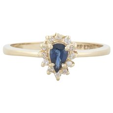 14k Yellow Gold Natural Blue Sapphire and Diamond Halo Ring Size 6 1/4