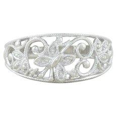 10k White Gold Diamond Butterfly Ring Size 7 1/4