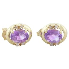 14k Yellow Gold Natural Amethyst and Diamond Earrings Stud Post Earrings