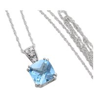 10K White Gold Natural Blue Topaz and Diamond Necklace with 18 inch chain