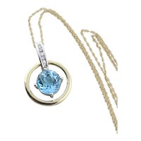 14K Yellow Gold and White Gold Natural Swiss Blue Topaz and Diamond Necklace with 18 inch chain