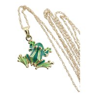 10k Yellow Gold Green Enamel Frog Necklace 18 inch chain