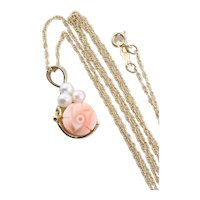 14k Yellow Gold Angel Skin Coral and Pearl Flower Necklace 18 inch chain