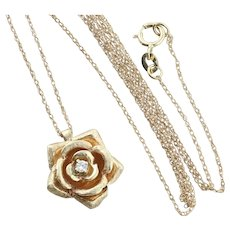 14K Yellow Gold Diamond Flower Necklace with 18 inch chain