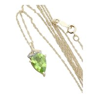10K Yellow Gold Natural Peridot and Diamond Necklace 18 inch chain