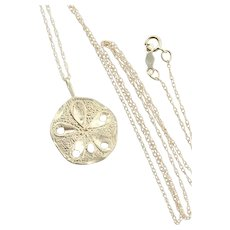 14k Yellow Gold Sand Dollar Seashell Necklace 18 inch chain
