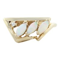 14k Yellow Gold Natural Opal and Diamond Ring Size 6 1/2