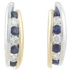 14k Yellow Gold and White Gold Natural Blue Sapphire and Diamond J Hoop Earrings
