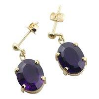 14k Yellow Gold Natural Amethyst Earrings Dangle Drop Earrings