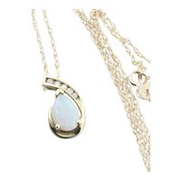 10k Yellow Gold Natural Opal and Diamond Necklace 18 inch chain