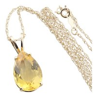 14K Yellow Gold Natural Citrine Necklace 18 inch Chain