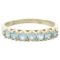 10k Yellow Gold Natural Sky Blue Topaz Band Ring Size 7 1/4