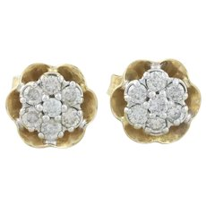 14k Yellow Gold Diamond Earrings Flower Butter Cup Stud Post Earrings