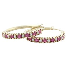 10k Yellow Gold Natural Ruby and Diamond Hoop Earrings