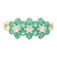 14k Yellow Gold Natural Green Emerald and Diamond Flower Ring Size 6 3/4