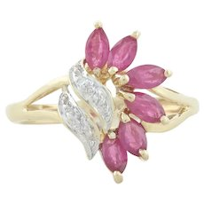 10k Yellow Gold Natural Ruby and Diamond Ring Size 6 3/4 Cluster Design