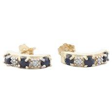 10k Yellow Gold Natural Blue Sapphire and Diamond Half Hoop Earrings